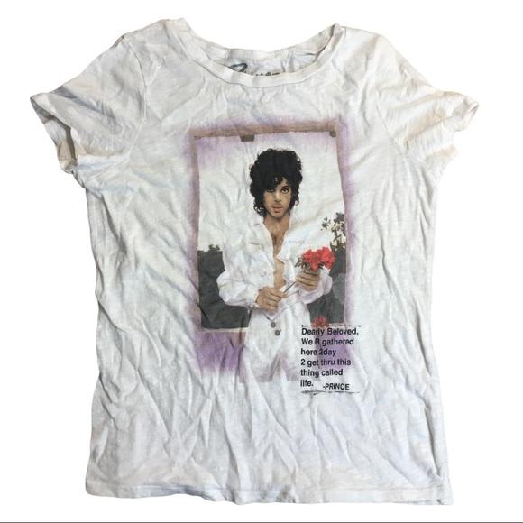 Prince Band Rock Tee Shirt White Womens Medium